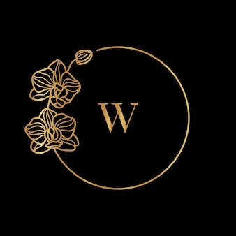 Gold frame template orchid flower and monogram concept with the letter w in minimal linear style. vector floral logo with copy space for text. emblem for cosmetics, medicines, food, fashion, beauty