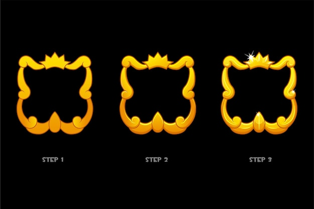 Gold frame templates with crown, blank avatar 3 steps of drawing for game.