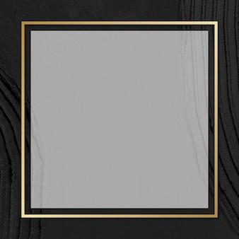 黒のテクスチャ背景にゴールドフレームベクトル