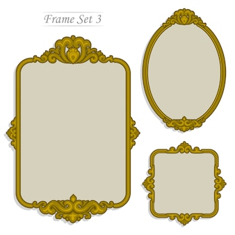 Gold frame, vintage luxury style in flat color .