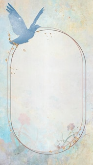 Gold frame with a blue dove silhouette painting mobile phone wallpaper