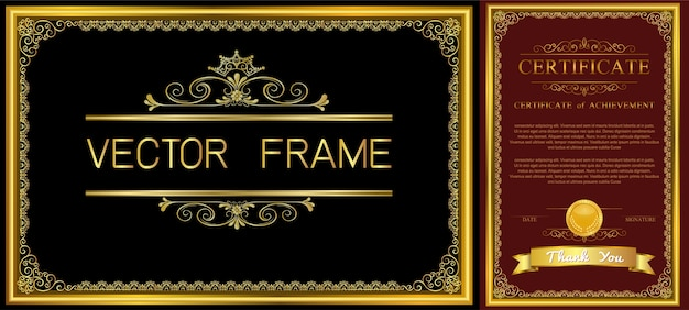 Gold frame with corner thailand line floral for picture