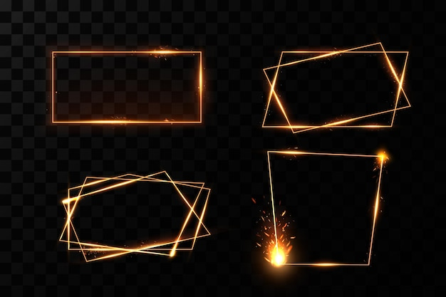 燃えるような火花のあるゴールドフレームは、バナーを照らす光の効果のあるゴールドフレームです。