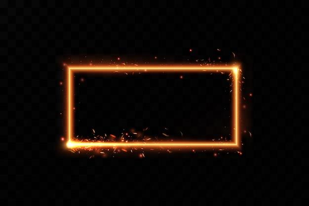燃えるような火花のあるゴールドフレーム光の効果のあるゴールドフレーム輝くバナー