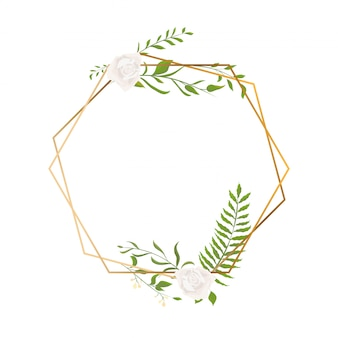 Gold frame with floral