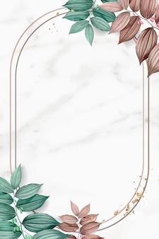 葉の背景とゴールドフレーム 無料ベクター