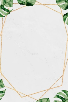 Gold frame with foliage on marble textured background