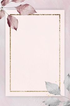 Gold frame with foliage on marble textured background Free Vector
