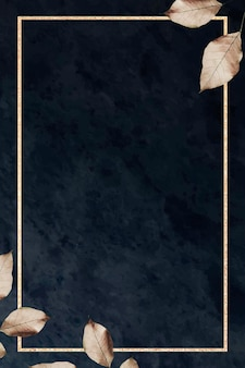 黒い大理石の織り目加工の背景に葉を持つゴールドフレーム 無料ベクター