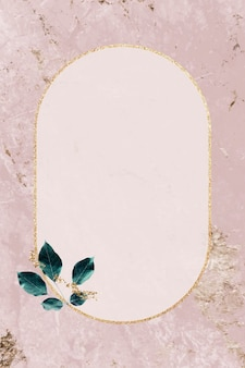 Gold frame with foliage pattern on marble textured background vector