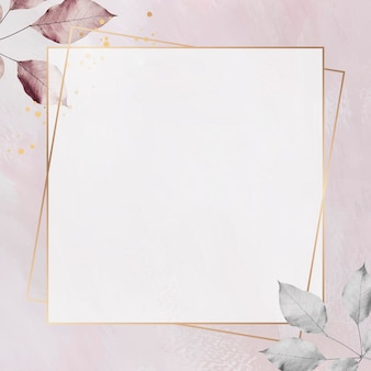 Gold frame with foliage pattern on marble textured background
