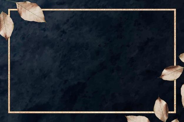 黒い大理石のテクスチャ背景ベクトルに葉のパターンを持つゴールドフレーム
