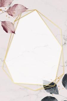 大理石のテクスチャ背景ベクトルに葉のパターンを持つゴールドフレーム