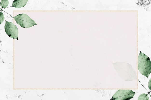 Золотая рамка с рисунком листвы на мраморном текстурированном фоне вектор