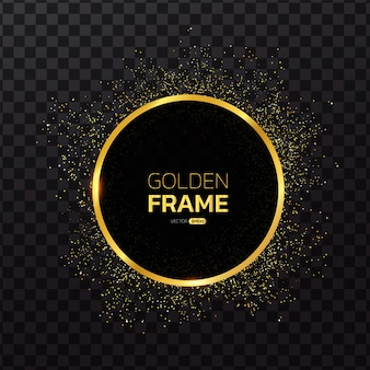Gold frame with glitter background