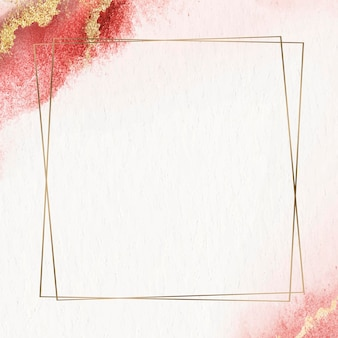 Gold frame with glitter on red watercolor