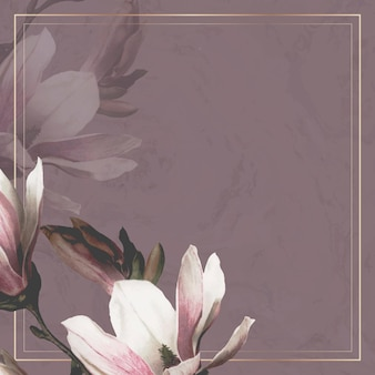 Gold frame with magnolia border on purple background Free Vector