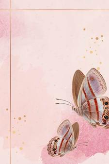 ピンクの蝶のパターンの背景ベクトルとゴールドフレーム