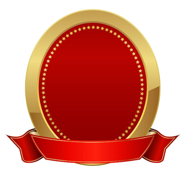 Gold frame with red ribbon icon