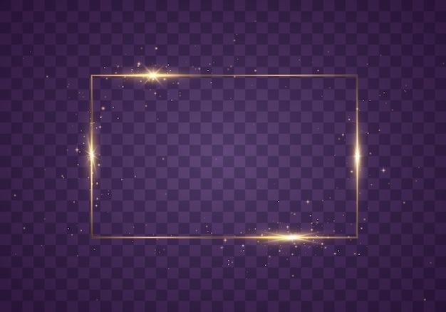 透明な背景に影のあるゴールドフレーム