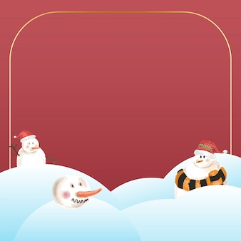 Gold frame with snowman on red background