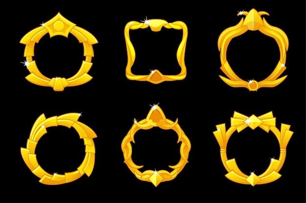 Gold frames avatar, royal different icons template for ui game. vector illustration set vintage golden picture frame for graphic design.