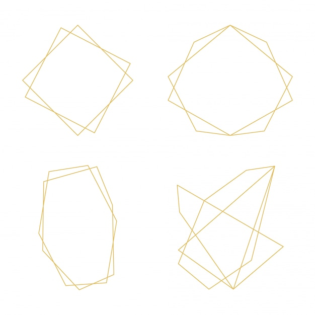 Gold frames geometric decorative lines ornament icons