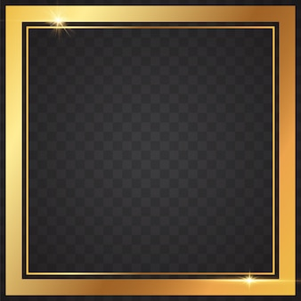 Gold frames light in transparent background