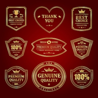 Gold frames premium labels set. premium old quality sales and elegant decoration red surface. crown and cup mark of elite certificate quality.