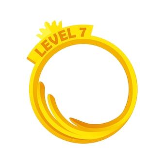 ゴールドゲームアバター、ラウンドフレームレベルアップテンプレート。ゲームのグラフィックデザインの王冠とベクトルイラストシンプルな空の金フレーム。