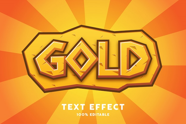 Gold game cartoon style text effect