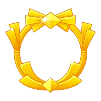 Gold game frame award, avatar round template for game ui