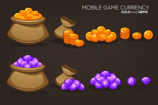 Gold and gems, mobile game currency, vector object collection