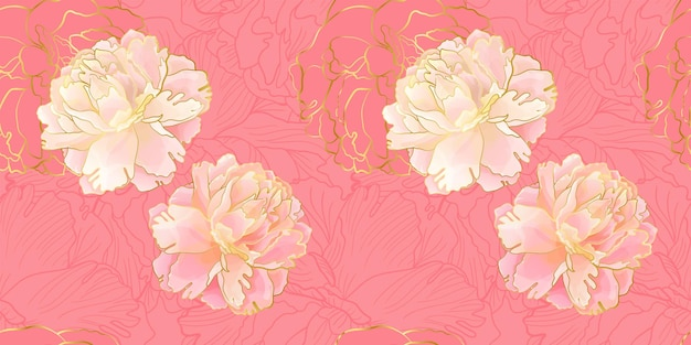 Gold and gentle pink peony seamless pattern