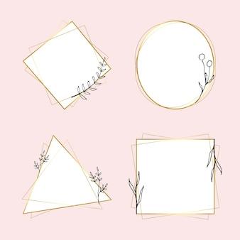 最小限の花の落書きスタイルで設定されたゴールドの幾何学的なフレームベクトル