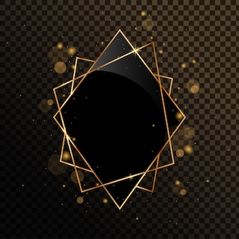 Gold geometric frame with black mirror. isolated on black transparent background.