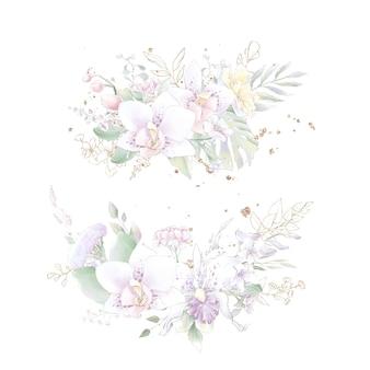 Золотая геометрическая рамка с орхидеями. акварельная иллюстрация.