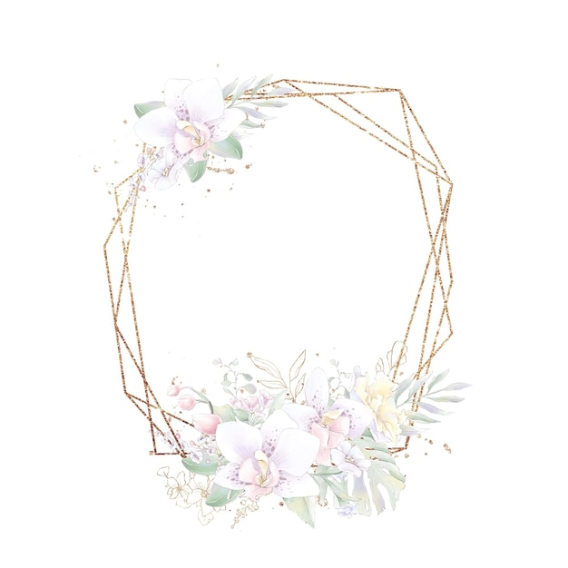 Gold geometric frame with orchids. watercolor illustration.