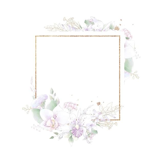 蘭とゴールドの幾何学的なフレーム。水彩イラスト。