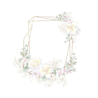 Gold geometric frame with orchids