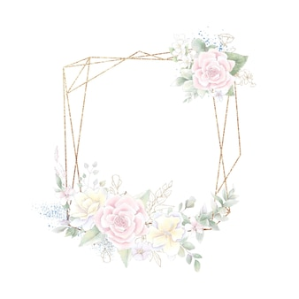 Gold geometric frame with roses. watercolor illustration.