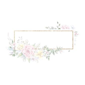 Золотая геометрическая рамка с розами