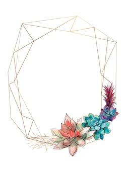 Gold geometric frame with succulents