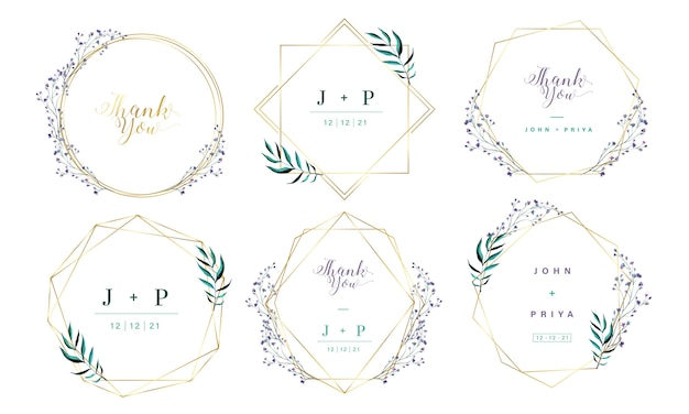 Gold geometric frame with watercolor floral for wedding invitation card.