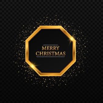 クリスマスクリスマスと年賀状のゴールドの幾何学的なフレーム Premiumベクター