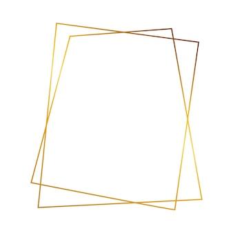 白い背景で隔離の輝く効果を持つゴールドの幾何学的な多角形のフレーム。空の輝くアールデコの背景。ベクトルイラスト。