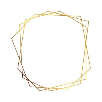 빛나는 효과 흰색 배경에 고립 된 골드 기하학적 다각형 프레임. 빈 빛나는 아트 데코 배경. 벡터 일러스트 레이 션.