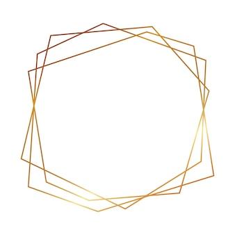 Золотая геометрическая многоугольная рамка с блестящими эффектами, изолированные на белом фоне. пустой светящийся фон в стиле ар-деко. векторная иллюстрация.