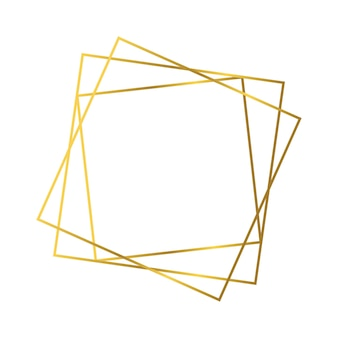 Gold geometric polygonal frame with shining effects isolated on white background. empty glowing art deco backdrop. vector illustration.