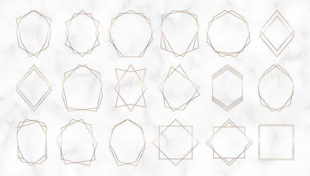 Gold geometric polygonal frames. decorative lines borders. luxury design